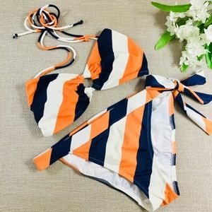 VICTORIA'S SECRET Orange & Navy Striped Bikini